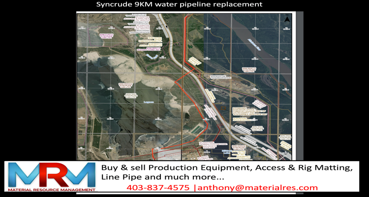 map show a water pipeline replacement for Syncrude