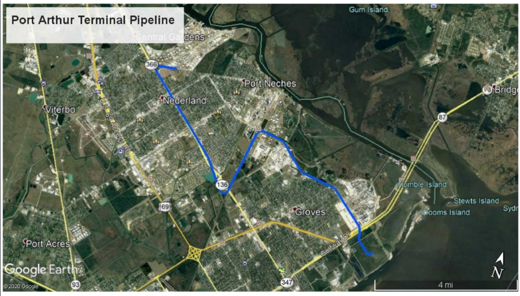The image below is the map from the Texas T4 Pipeline Permit 10279 for 12 miles of new pipeline located JEFFERSON county Texas related to Port Arthur Terminal