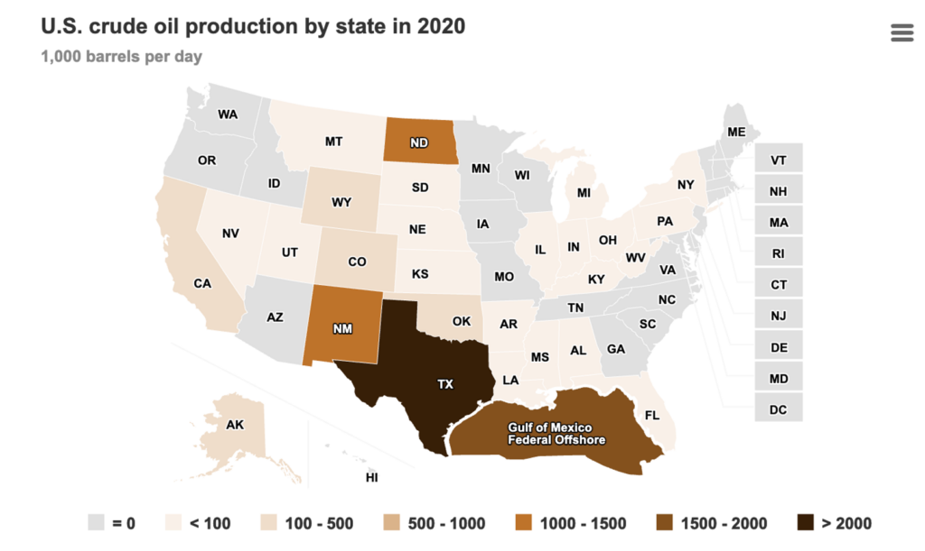 Map of us oil production
