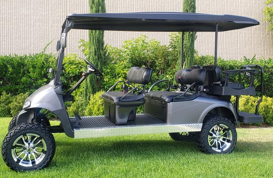6 Passenger Ezgo Rxv Stretched Limo Lifted Golf Cart – Custom Matte Charcoal Paint