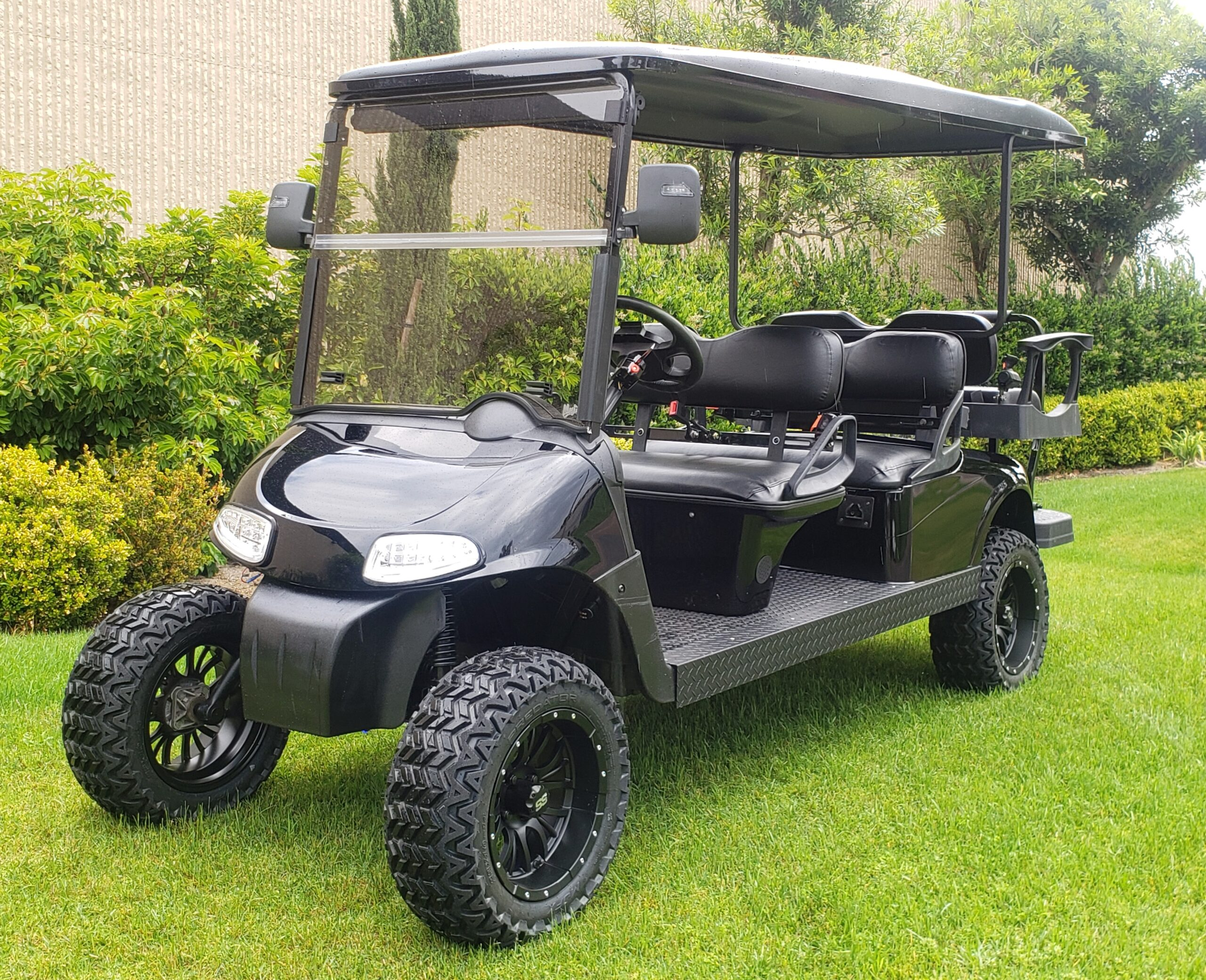 Murdered Out Ezgo Rxv Stretched Lifted Limo Electric 6 Passenger Golf Cart