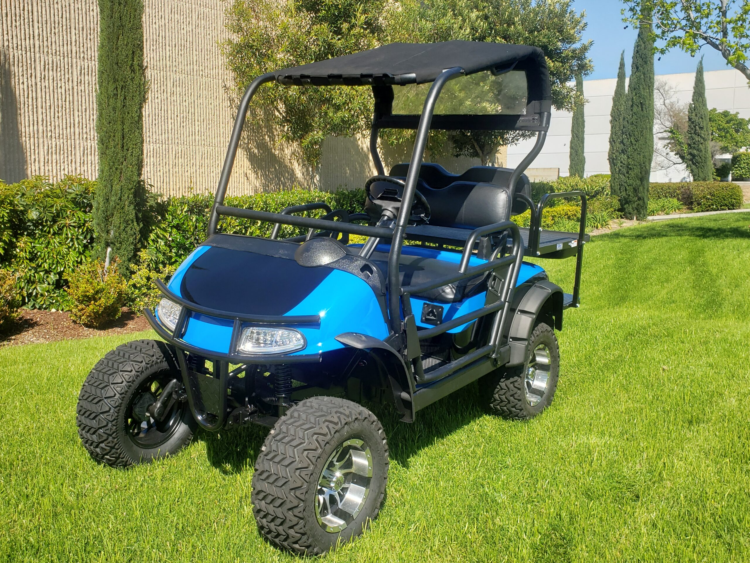 Tricked Out Ezgo RXV Lifted 4 Passenger Golf Cart- Two Tone Voodoo Blue / Black