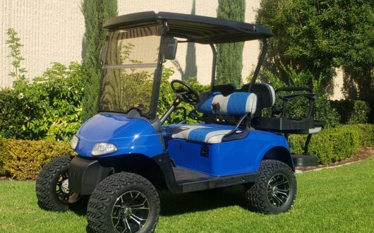 Ezgo Electric Rxv Lifted 4 Passenger Golf Cart- Dodger Blue