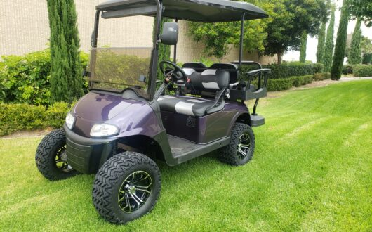 Ezgo Electric Rxv Lifted 4 Passenger Golf Cart- Toyota Jewelry Purple