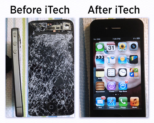 Iphone With Smashed Screen And An After Image Of The Same Iphone With A Good Replaced Screen