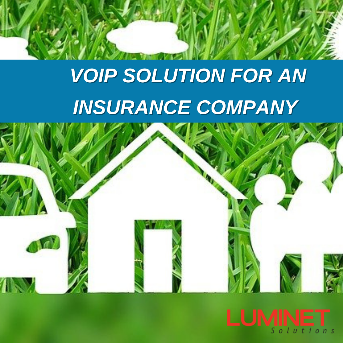 Icon Of Green Grass And House Silhouette Representing VoIP Communications For An Insurance Company