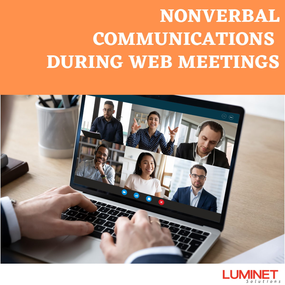 Business Man At A Laptop Computer Working With A Virtual Team In A Meeting - Non-verbal Communications During Web Meetings.