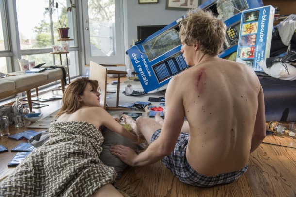 """YOU'RE THE WORST --  """"The Sweater People"""" -- Episode 201 (Airs Wednesday, September 9, 10:00 pm e/p) Pictured: (l-r) Aya Cash as Gretchen Cutler, Chris Geere as Jimmy Shive-Overly. CR: Prashant Gupta/FX"""