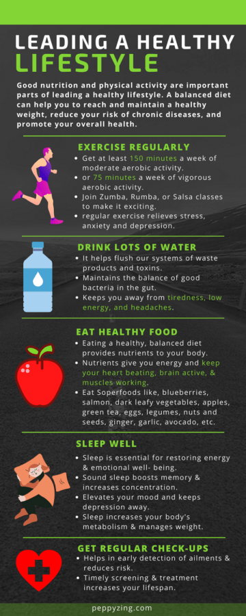 Tips for healthy lifestyle infographic