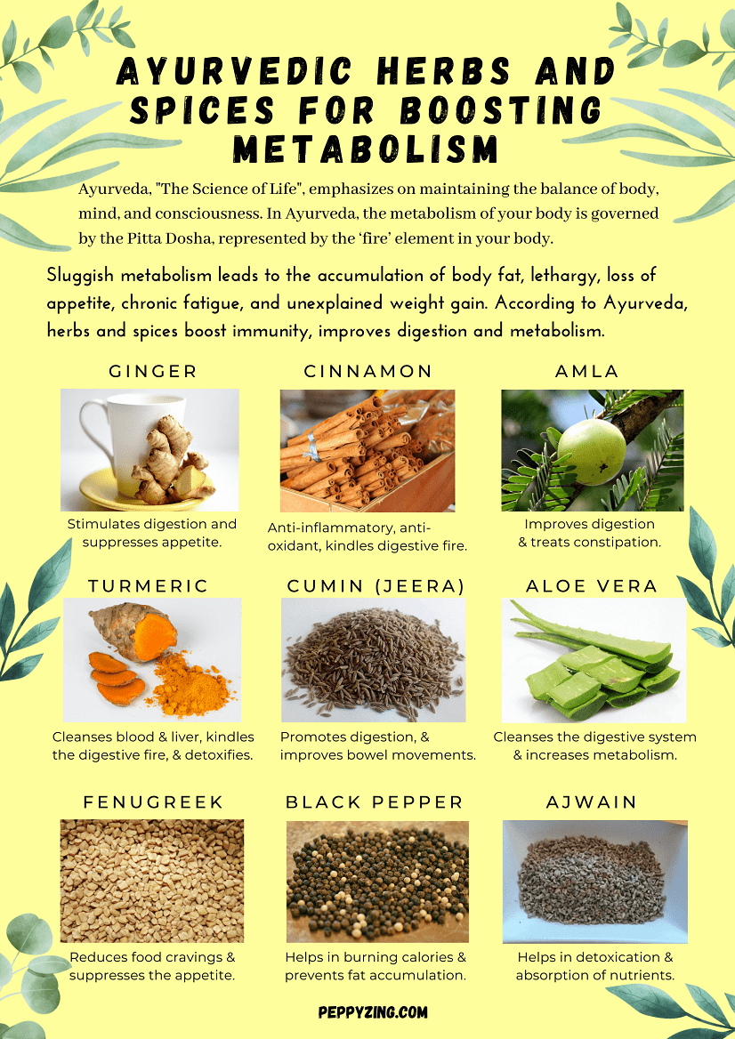Ayurvedic herbs and spices for boosting metabolism