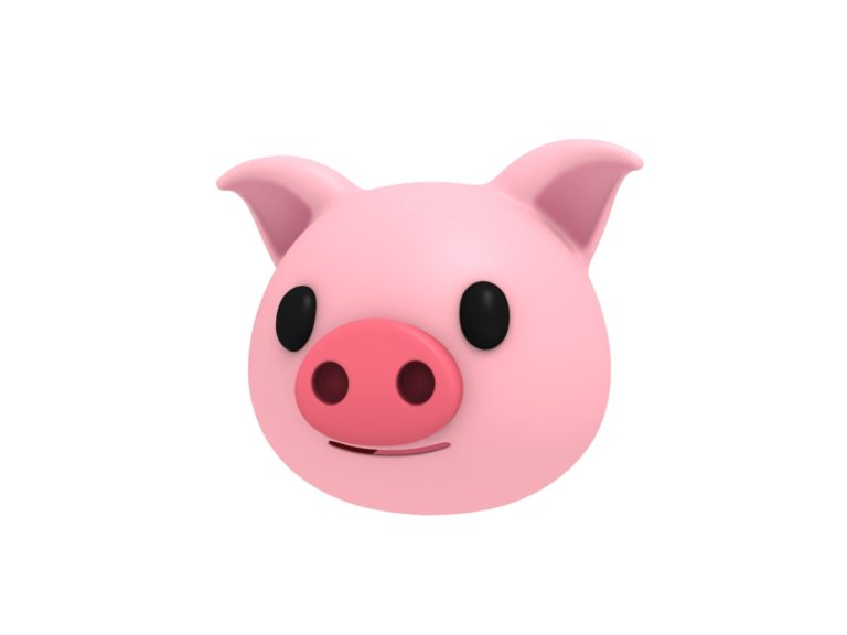 pig head 3d cartoon model