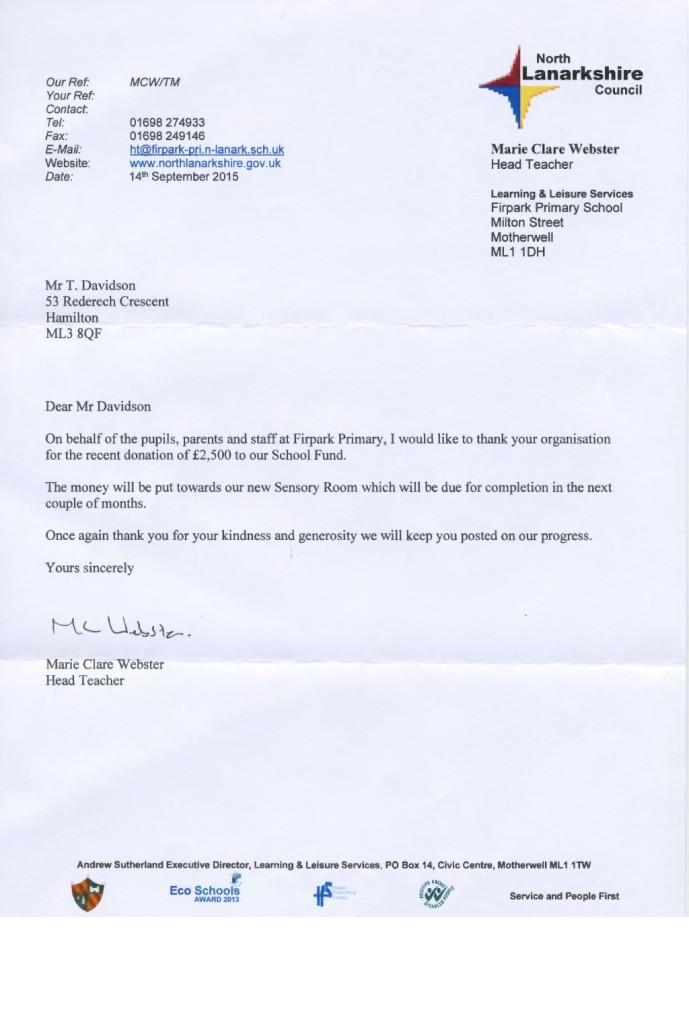 Fir Park School Thank You Letter 160915