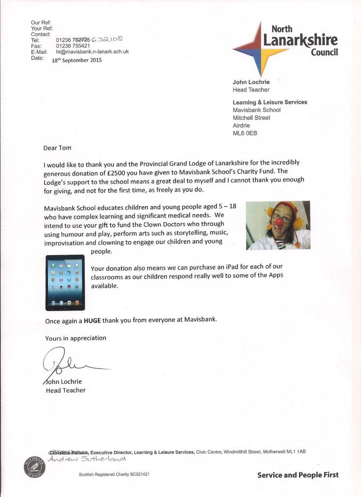 Thank you letter - Mavisbank 1 200915
