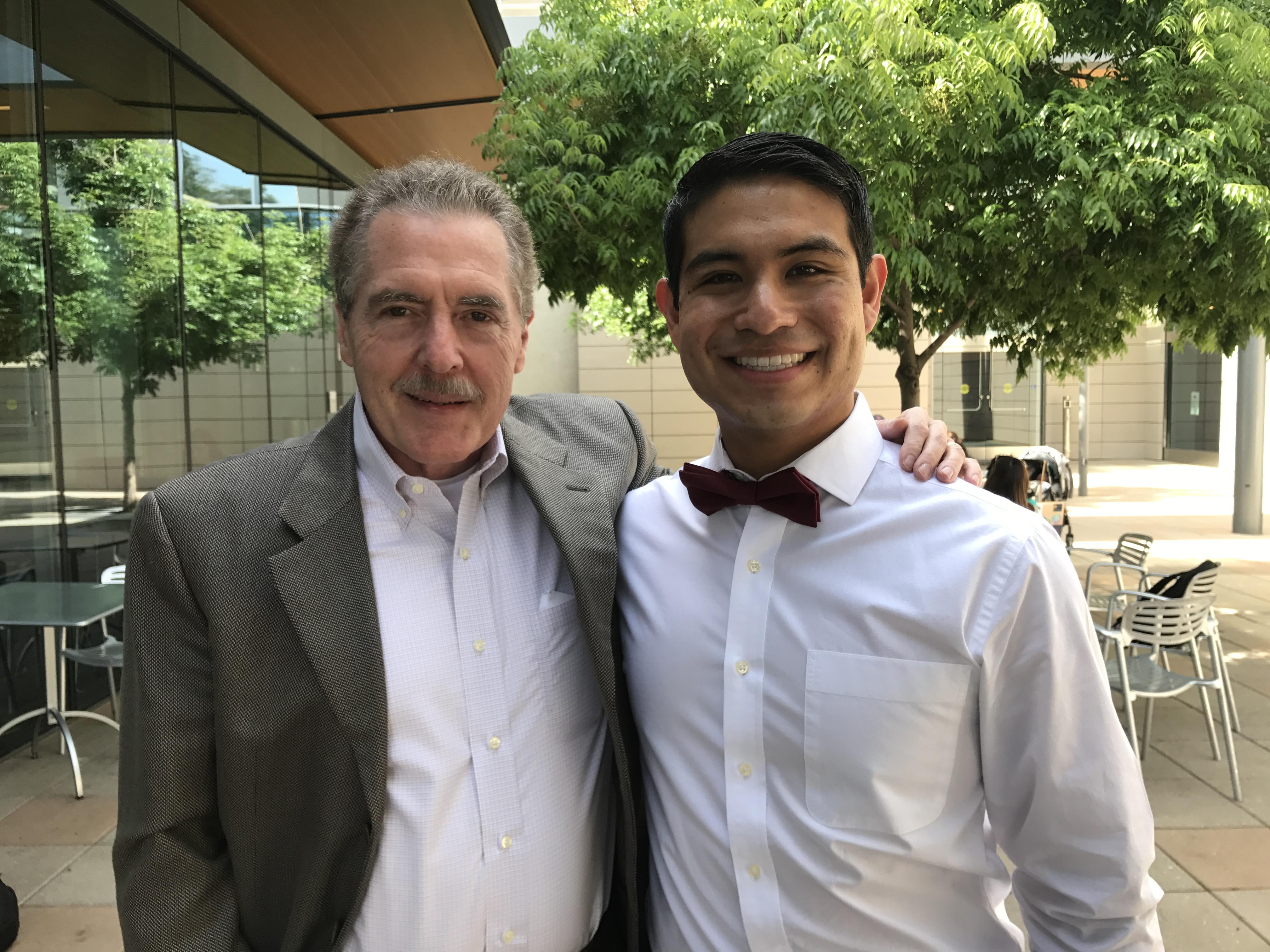 Pedro Espinoza with Jack Larson, Giving with Jack Larson.