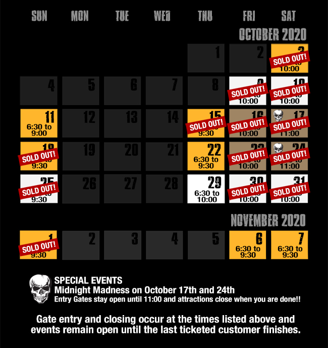 field of screams md calendar 2020 v7