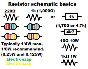 How to read schematic diagrams 01 resistor component quarter watt 1W 10W diagram by electronzap