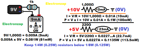 Current through a resistor illustrated and schematic with calculations diagram by electronzap