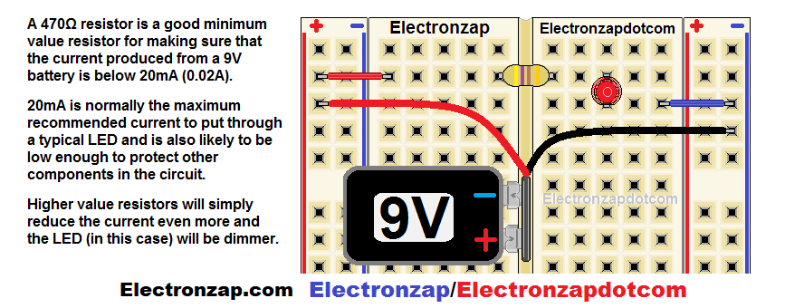 9V battery with snap wires to power current limiting resistor with LED circuit on breadboard diagram by electronzap electronzapdotcom