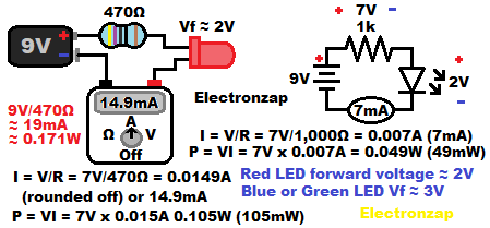 LED protected by a resistor circuit voltage resistance and current ohms law calculations diagram by electronzap