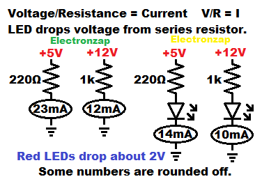 Some resistor and LED circuit current examples by electronzap