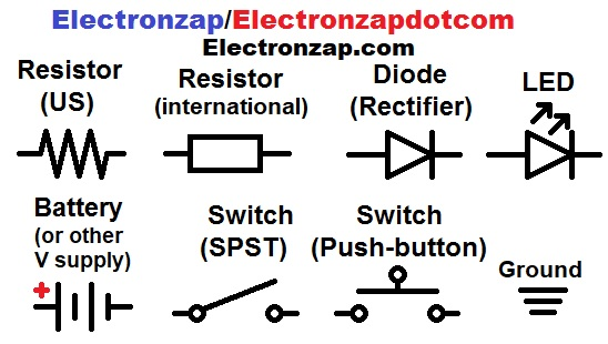 Basic schematic symbols of resistor diode LED battery ground push button and toggle switch diagram by electronzap electronzapdotcom