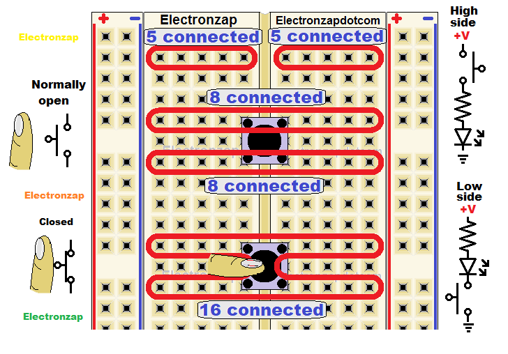 Push button switch on a breadboard basics learning electronics lesson 0005