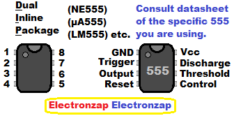 555 timer integrated circuit IC pin layout