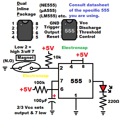 555 timer monostable mode one shot controlled with magnetic switch learning electronics lesson 0009 schematic diagram by electronzap