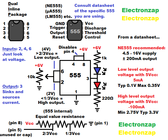 555 timer schmitt trigger with LEDs controlled by trimpot voltage divider circuit