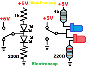 Alternating LEDs demonstration circuit schematic and pictorial diagram by electronzap