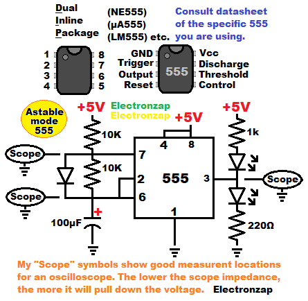 Astable mode 555 timer multivibrator flashing LEDs with oscilloscope measurement locations schematic diagram by electronzap