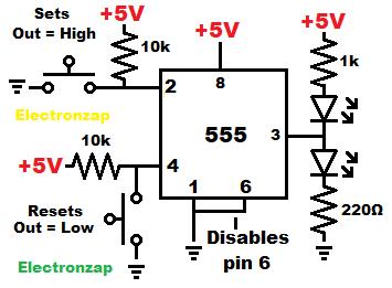 Bistable mode 555 timer flip flop circuit schematic diagram by electronzap