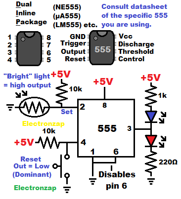 Bistable mode 555 timer flip flop set with light dependent resistor and reset with push button switch schematic diagram by electronzap