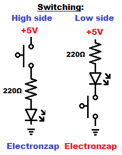 High side versus low side switching circuit schematic examples diagram by electronzap