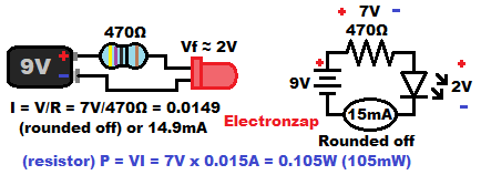LED protected by a resistor electrical properties diagram by electronzap