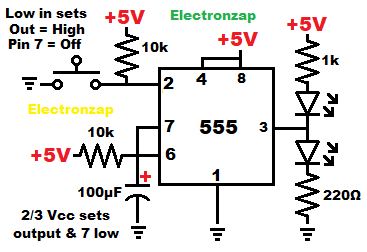 Monostable 555 timer one shot mode schematic diagram by electronzap