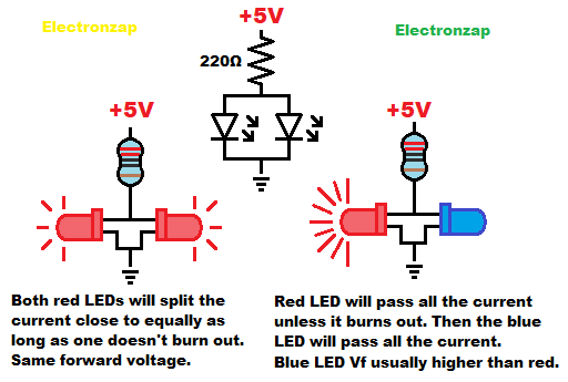 Parallel LEDs schematic and pictorial diagram by electronzap