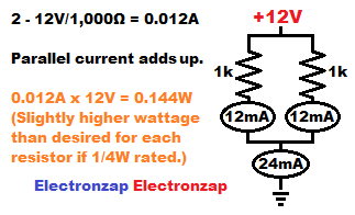 Parallel resistors provide more current for the equivalent of less resistance schematic diagram image