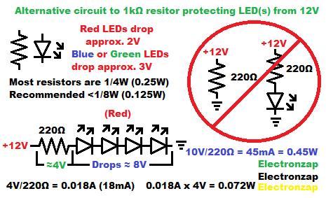 Stacking LEDs so a 200 ohm resistor can set the current schematic diagram by electronzap