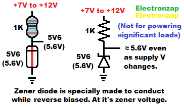 Zener diode demonstration circuit schematic and pictorial diagram by electronzap