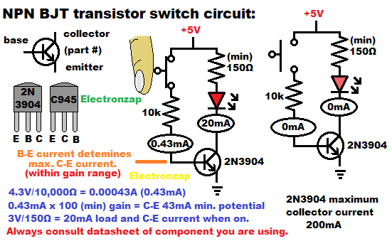 NPN bipolar junction transistor BJT switch circuit introduction schematic diagram by electronzap