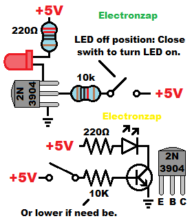 NPN bipolar junction transistor BJT switch circuit pictorial and schematic diagram by electronzap
