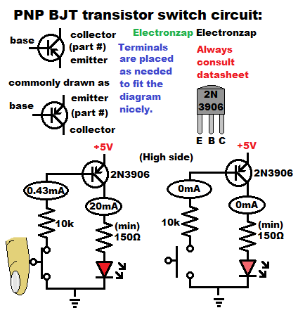PNP Bipolar Junction Transistor BJT switch schematic diagram for learning electronics lesson 0013 by electronzap