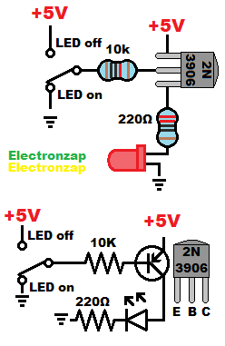 PNP bipolar junction transistor BJT switch pictorial and schematic diagram by electronzap