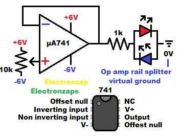741 op amp voltage follower with dual aka split power supply learning electronics lesson 0031