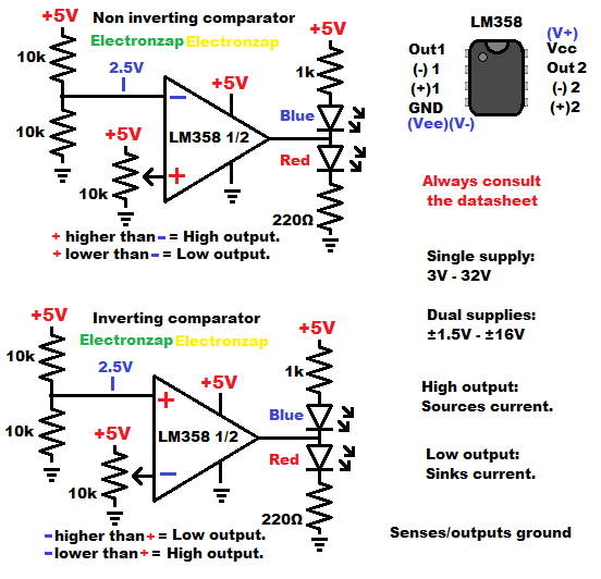 LM358 op amp wired as non inv and inverting comparator circuit learning electronics lesson 0020