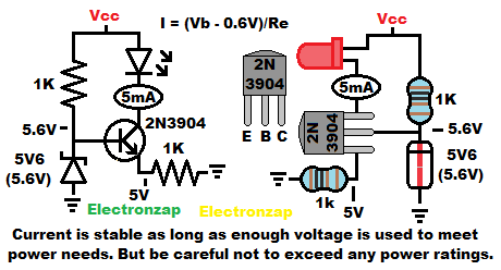 NPN BJT current source 2N3904 set by zener diode for 5mA schematic and pictorial diagram by electronzap