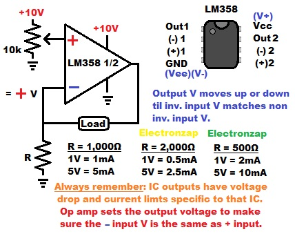 Op amp current source using LM358 operational amplifier and LEDs learning electronics lesson 0026