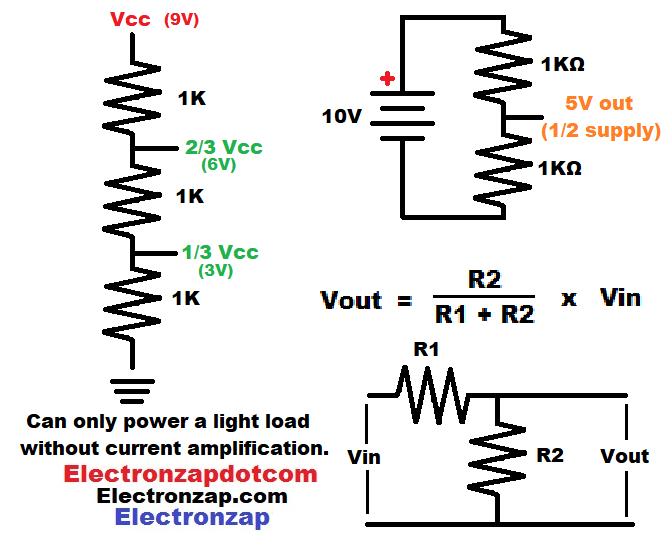 Simple voltage divider schematic circuits diagram by electronzap electronzapdotcom