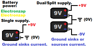Single versus dual or split power supply using batteries pictorial by electronzap